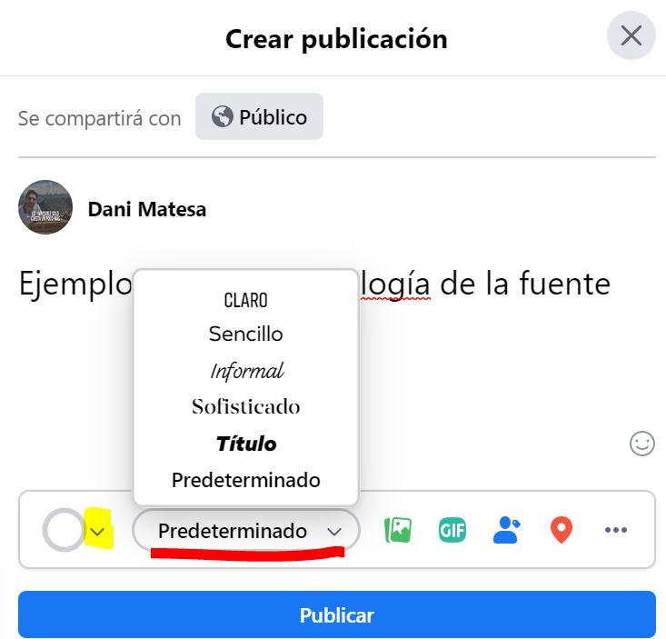 escribir en negrita en facebook   cambiar letra en facebook